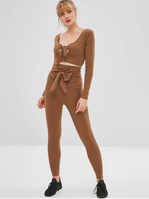 Tauchendes, gepolstertes Knoten-Yoga-T-Shirt - Braun M Mobile