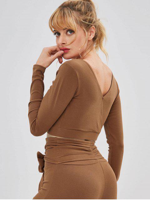 Plunge acolchado nudo Yoga Tee - Marrón L Mobile