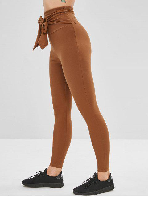 Leotardos de cintura ancha atados yoga gimnasio - Marrón L Mobile