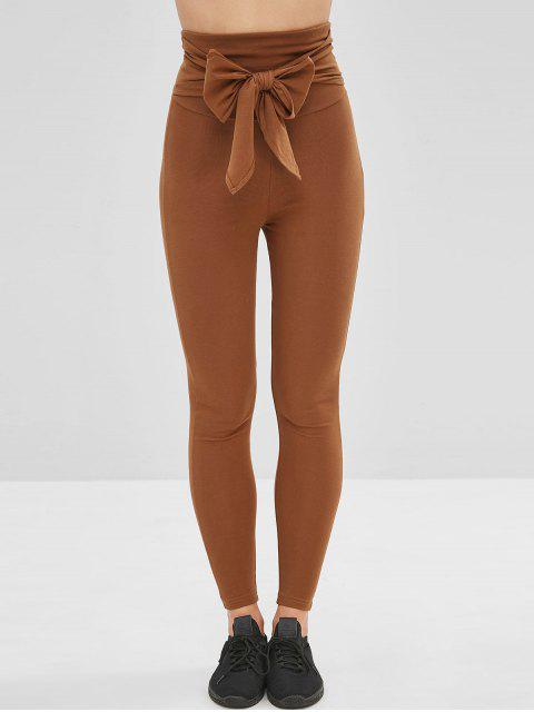 buy Tied Wide Waistband Yoga Gym Leggings - BROWN L Mobile