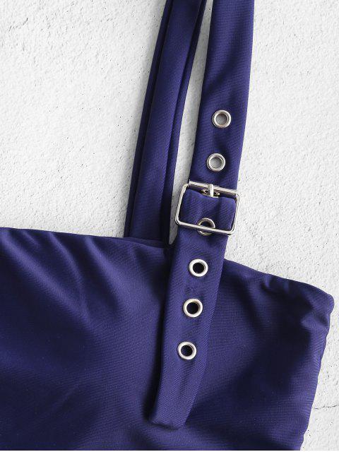 lady ZAFUL Buckle Low Waisted Bikini Set - LAPIS BLUE L Mobile
