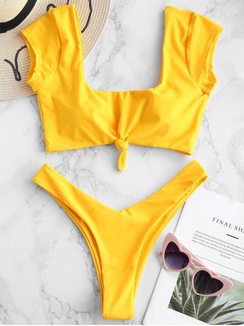 trendy ZAFUL Short Sleeve Knotted Bikini Set - BRIGHT YELLOW S Mobile