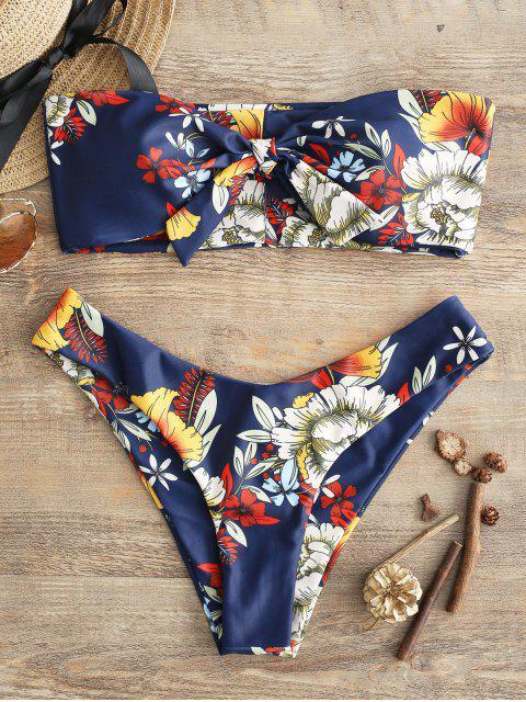 ZAFUL Verknotetes Blumen-Bandeau- Bikini -Set - Lapisblau M Mobile