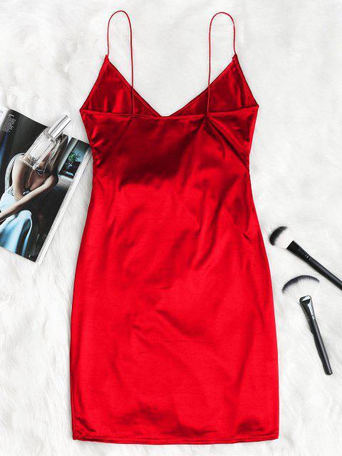 Vestido de Fiesta de Tirante Fino con Drapeado - Rojo Lava M Mobile