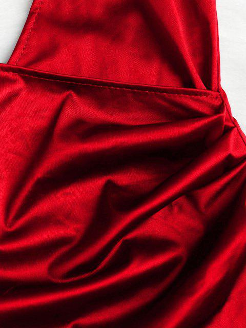 ladies Cami Draped Crossover Slip Party Dress - LAVA RED XL Mobile