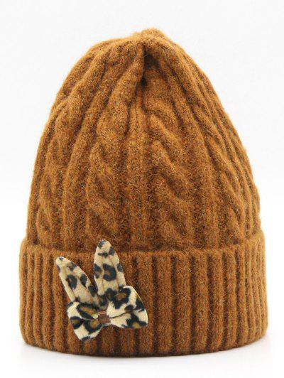 879628290cb11 Leopard Bowknot Flanging Beanie - Brown