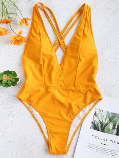 fd958723894 ZAFUL Criss Cross Backless Plunging Swimsuit - Bright Yellow L