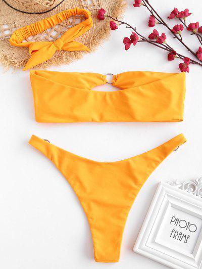 7ed0802459f84 ... ZAFUL Ring Embellished Cutout Bandeau Bikini Set - Bright Yellow L