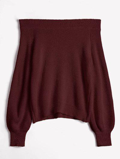 Off The Shoulder Lantern Sleeve Pullover Sweater - Red Wine