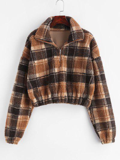 Plaid Crop Faux Fur Sweatshirt - Multi L