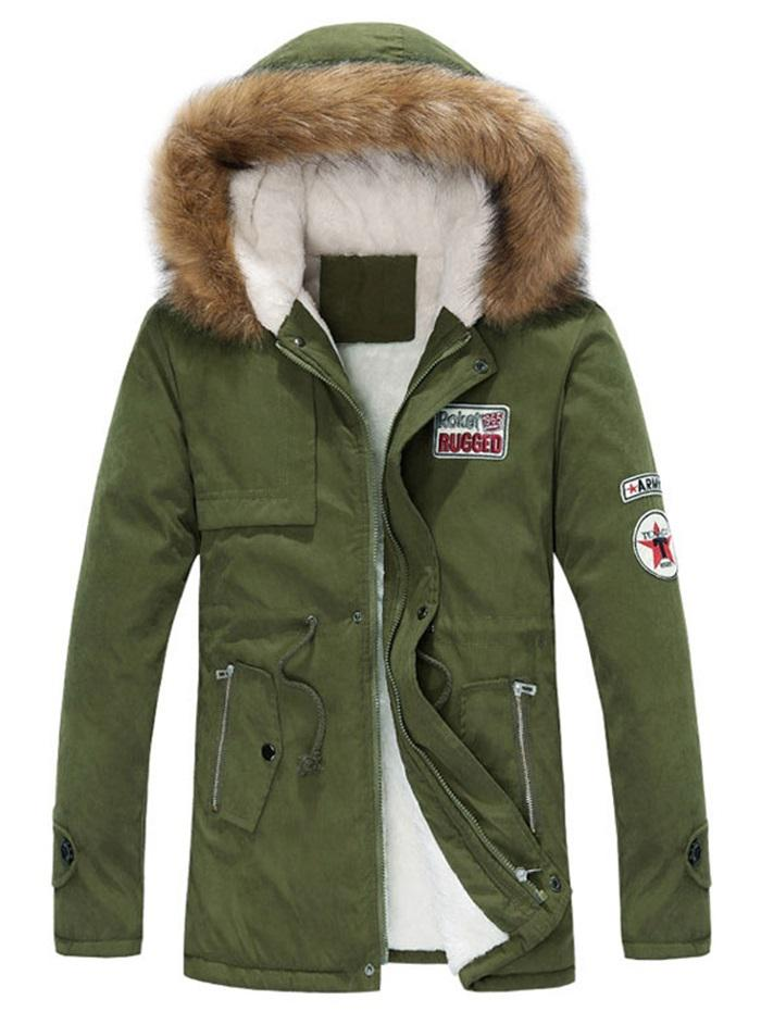 Faux Fur Hood Fluffy Lined Jacket, Army green
