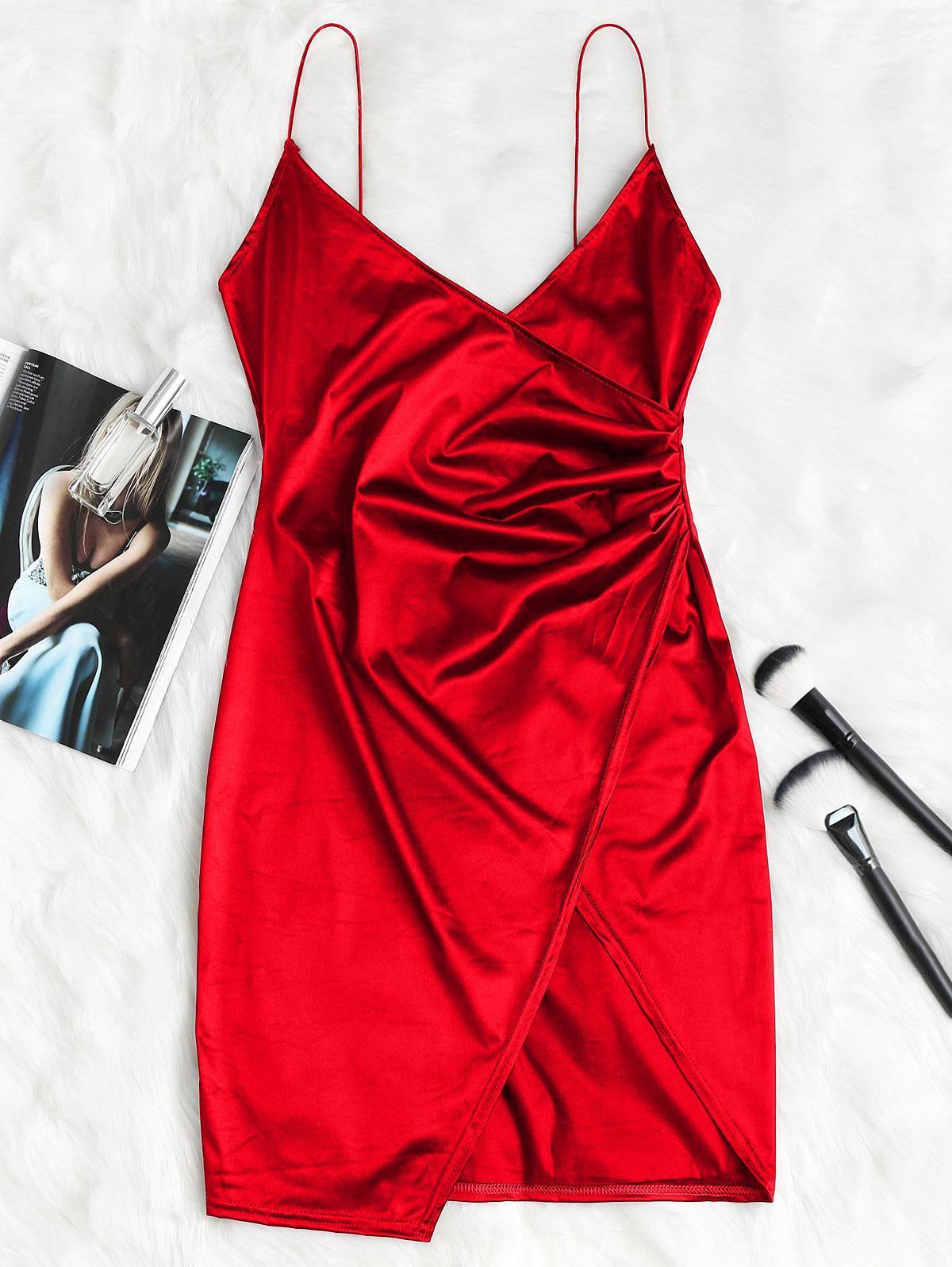 Cami Draped Crossover Slip Party Dress thumbnail