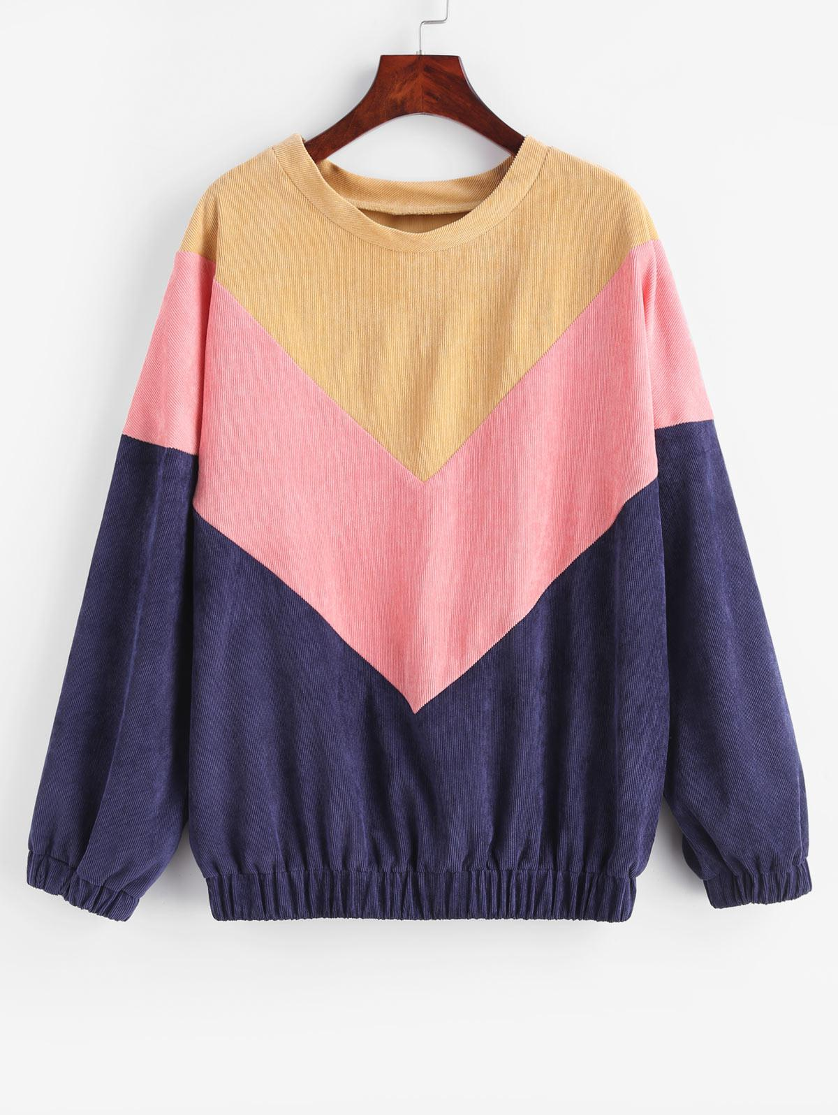 Color Block Corduroy Sweatshirt