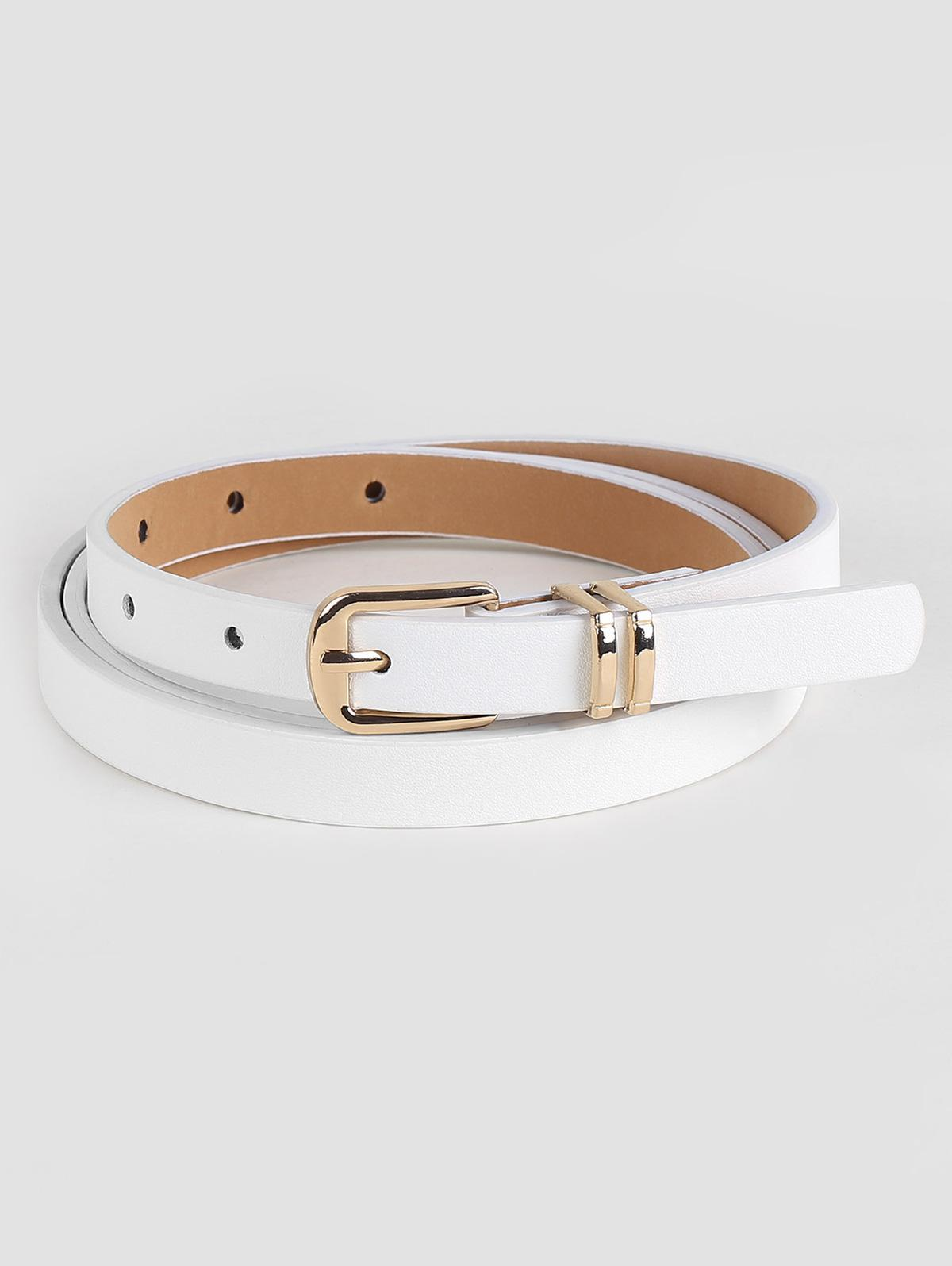 Retro White Faux Leather Alloy Buckle Belt
