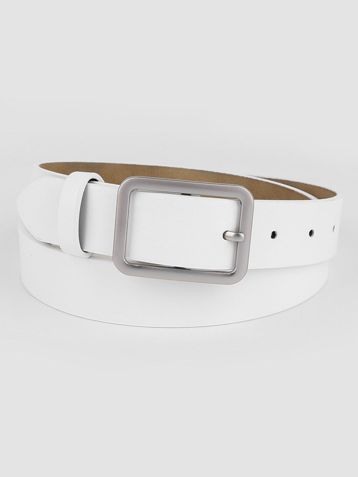 Vintage White Faux Leather Silver Buckle Belt