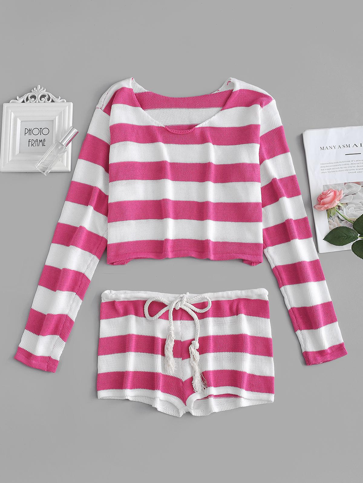 Striped Crop Sweater and Shorts Set фото