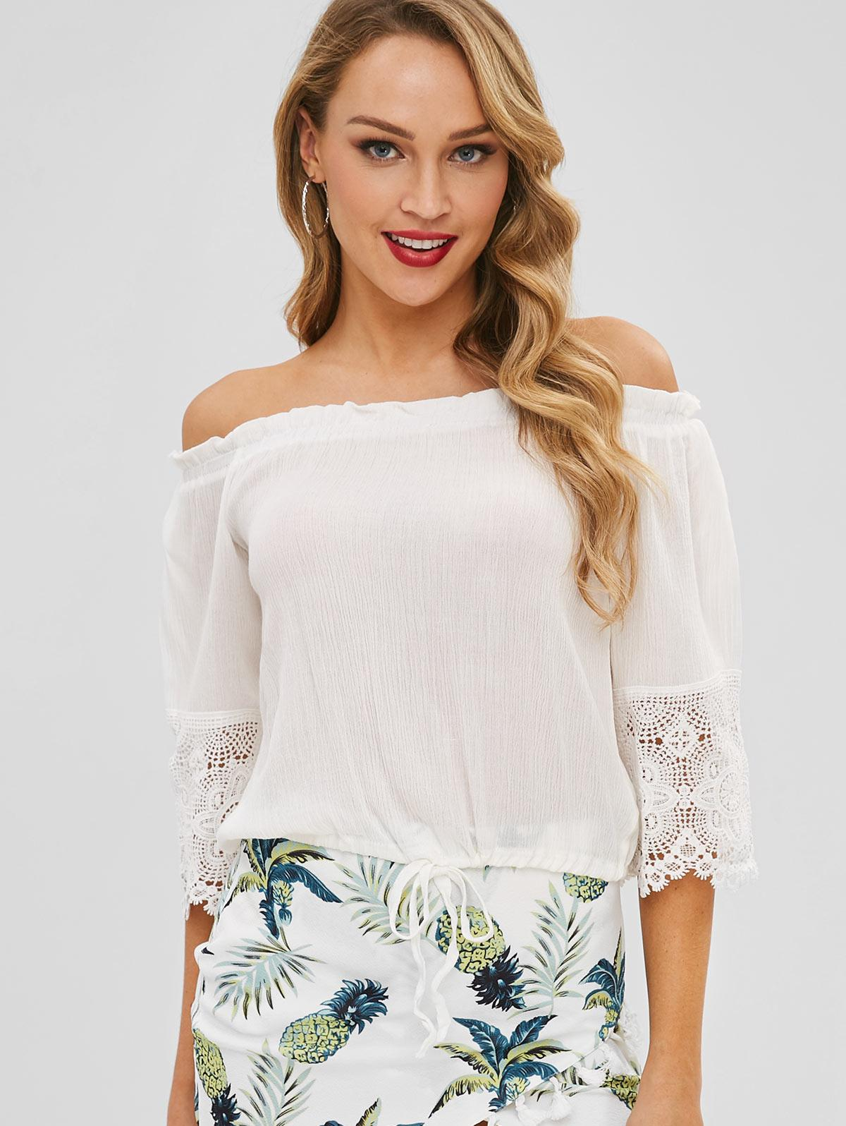 Lace Trim Bell Sleeve Off The Shoulder Top, White