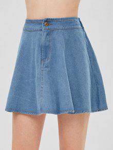 تنورة الدنيم خط - جينز ازرق