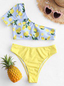 ZAFUL ليمون واحد كتف واحد قطعة ملابس السباحة - الأصفر L