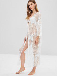f9a38812ae 19% OFF] 2019 Sheer Lace Long Kimono Beach Cover Up In WHITE | ZAFUL