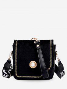 حقيبة كروسبودي ذات تصميم عريض - أسود