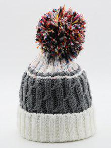 d63d86c5ce6 2019 Fuzzy Ball Knitting Winter Knit Hat In WHITE
