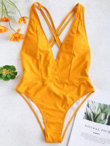 ZAFUL كريسس الصليب عارية الذراعين اغراق ملابس السباحة - أصفر فاقع S