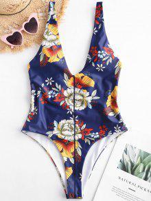 ZAFUL الأزهار المنخفضة قطع قطعة واحدة ملابس السباحة - اللازورد الأزرق L