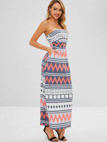 فستان مكسي مطبع بدون حمالات - متعدد M