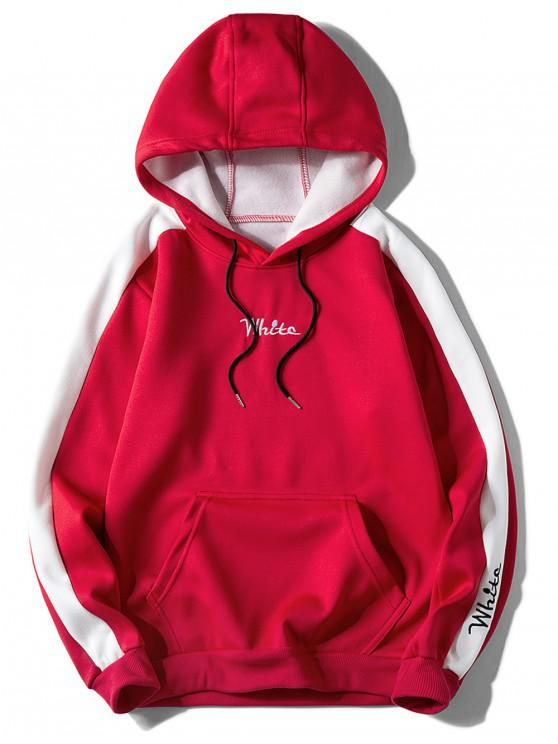 hot Contrast Embroidery White Pocket Fleece Hoodie - RED XL