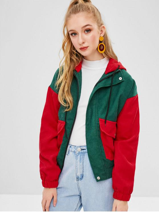 affordable Color Block Corduroy Hooded Jacket - MULTI-A M
