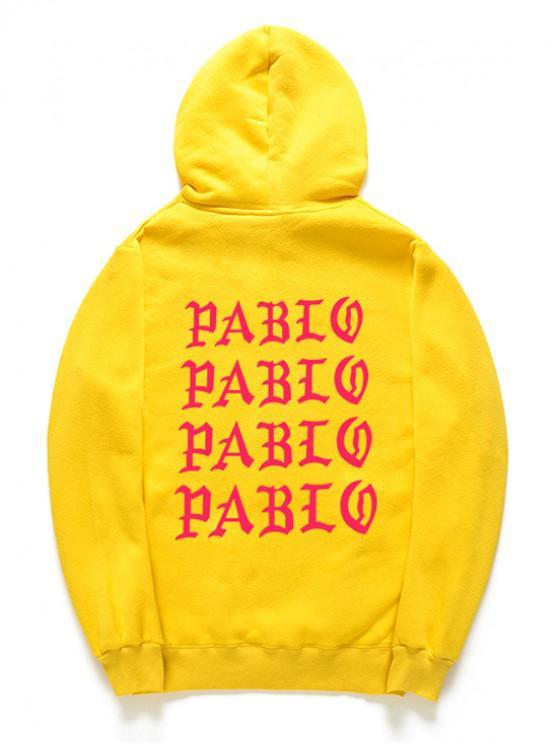 Hoodie do pulôver do velo do teste padrão da letra - Amarelo M