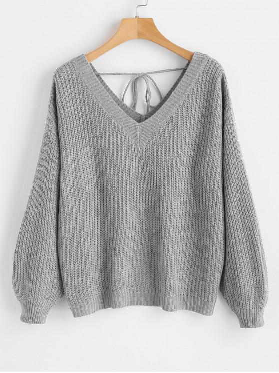 affordable V Neck Drop Shoulder Oversized Sweater - LIGHT GRAY L
