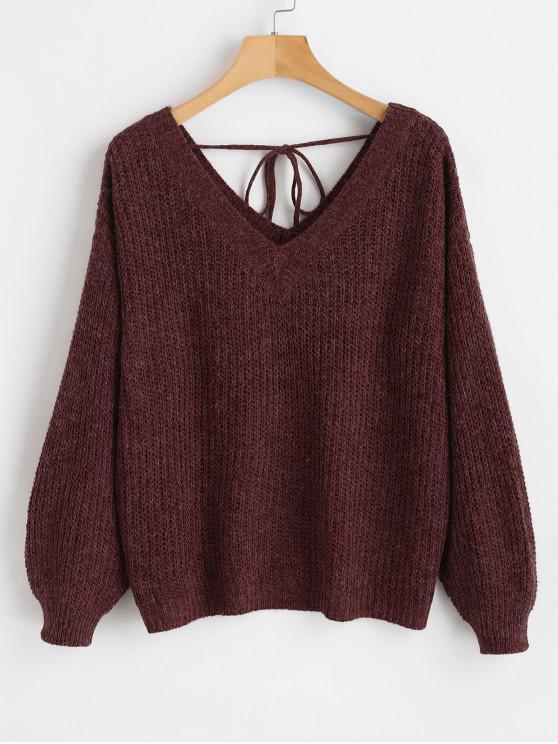 new V Neck Drop Shoulder Oversized Sweater - FIREBRICK L
