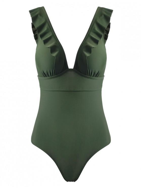 Rüschen wieder ein Stück Badeanzug - Armeegrün S