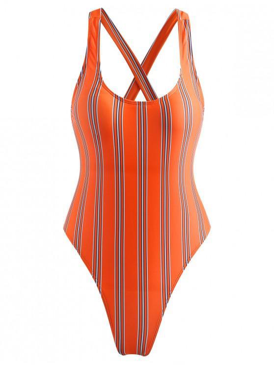 3cfac9005d1 20% OFF] 2019 ZAFUL Striped Bowknot High Cut Swimsuit In ORANGE ...