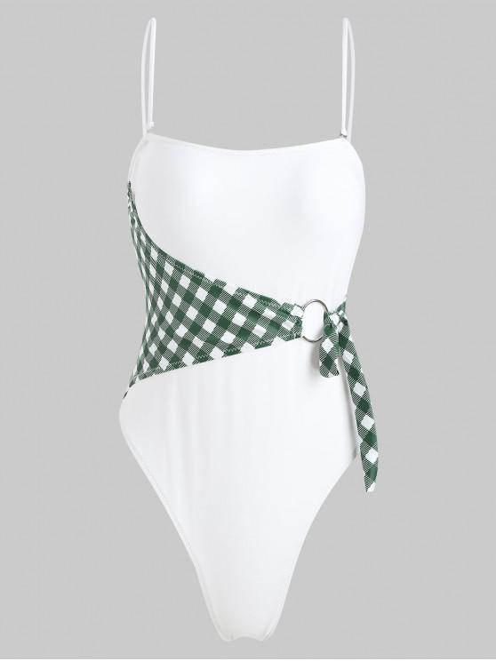 Costume Da Bagno Di ZAFUL A Quadretti Con Taglio Alto - Bianco L