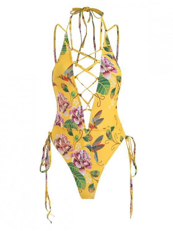 unique ZAFUl One Piece Floral Lace Up High Cut Swimsuit - CORN YELLOW L