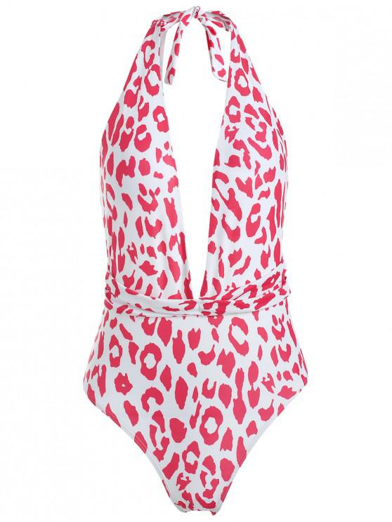 hot Printed Halter One Piece Swimsuit - LOVE RED L