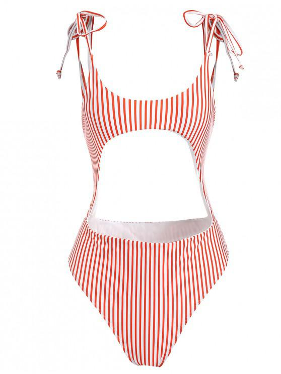 fashion Striped Cutout Tie Shoulder Swimsuit - RED L