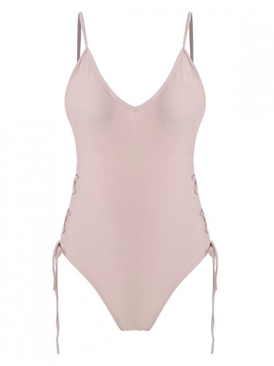 women's Lace-up One-piece Swimsuit - PINK S