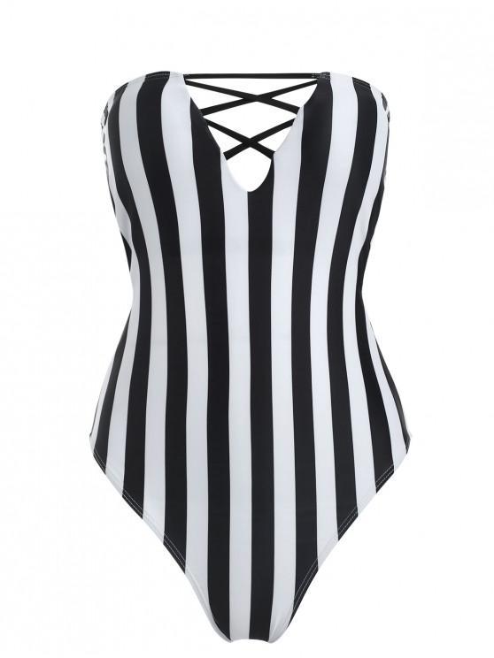 women Striped High Cut Tube Swimsuit - BLACK L