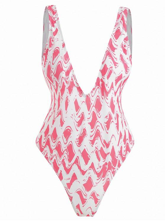 Costume Da Bagno Di Zigzag A Taglio Alto Con Scollo Profondo - Rosa Anguria  L