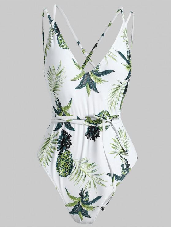 Costume Intero Tropicale Con Lacci Incrociati - Bianca L