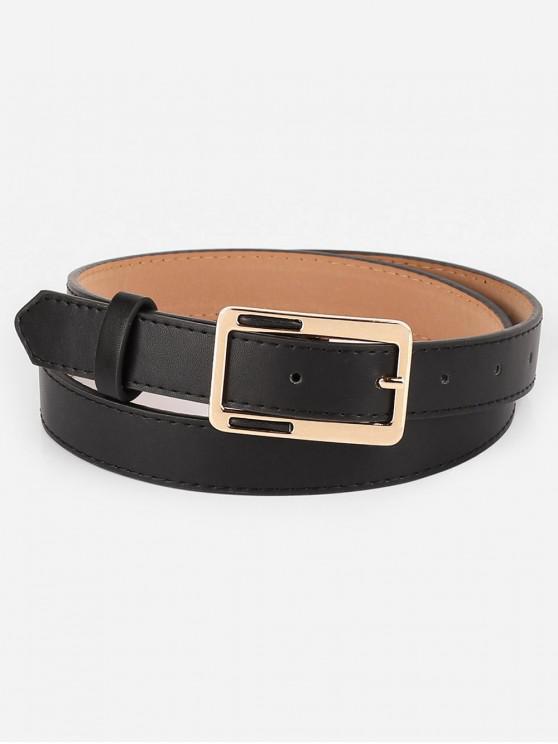 lady Vintage Alloy Geometric Buckle Faux Leather Belt - BLACK