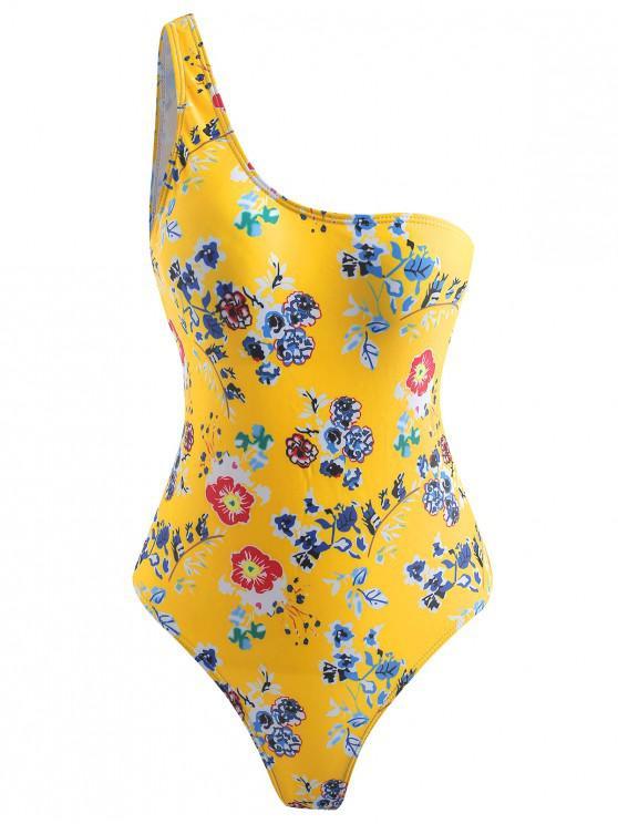 fancy Floral High Cut Swimsuit - SUN YELLOW M