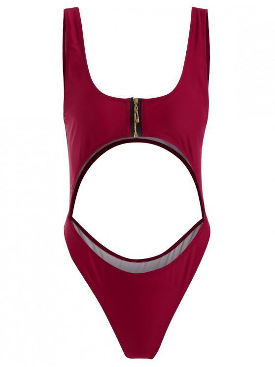 Costume Da Bagno Tagliato Con Cerniera - Vino Rosso M