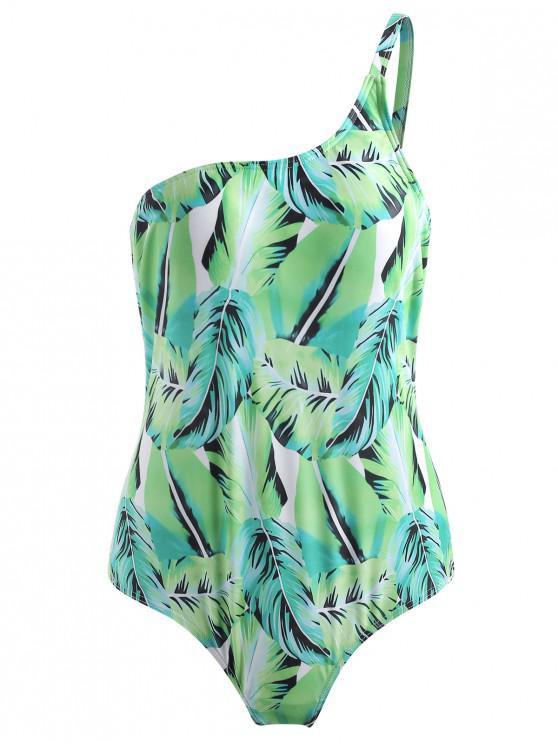 Costume Da Bagno A Monospalla Con Stampa Foglie Di Palma - Verde Alieno  L