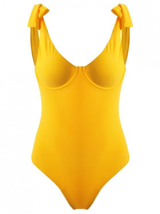Costume Da Bagno Con Ferretto E Spalline Annodate - Giallo Luminoso M