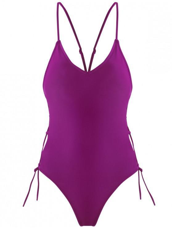 affordable Lace-up High Cut Swimsuit - PLUM VELVET L